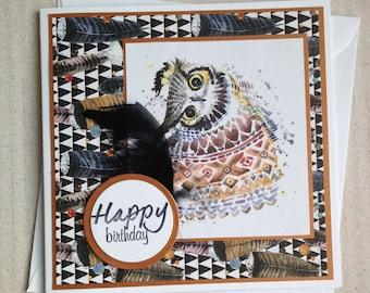 Handmade Owl Birthday Card, Owl Card, Birthday Card, Card for Owl Lover, Wildlife Card