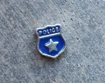 Floating Charm For Glass Memory Lockets- Police Badge
