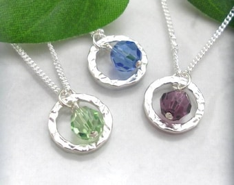 Custom Birthstone Necklace, Sterling Silver Crystal Jewelry, Hammered Ring, Birthday Gift for Her, Custom, Birthstone Jewelry