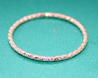 Glitter Ring - Thin Skinny - Sterling Silver - Stacking Ring - Faceted Wire Band