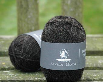 50g ball of Double Knitting Black Welsh Mountain sheep wool