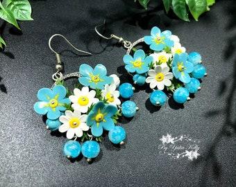 Blue Earrings, Blue Flower Earrings, Polymer Clay Flowers, Earrings Forget-me-not, Earrings Daisy, White Flower Earrings, Сamomiles Earrings