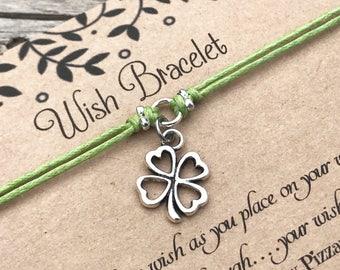 Clover Wish Bracelet, Make a Wish Bracelet, Wish Bracelet, Friendship Bracelet, Shamrock Bracelet, Lucky Bracelet, Gift for Her, Favour gift