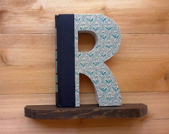 BOOK LETTER (R), #289 .... Ready Made Book, Book Art, Book Letter, Initial Book,Letter Cut from Book,Wedding Gift, Office,Gift For Boss.