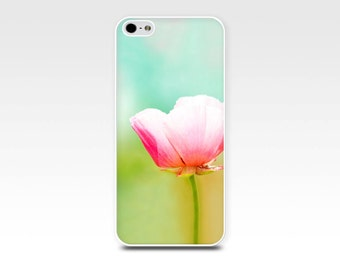 iphone case 4 4s 5 5s 6 pink floral iphone case poppy pastel pink flowers photography art iphone 4 4s 5 5s 6 case nature botanical teal mint