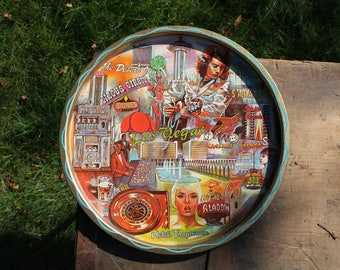 Vintage Las Vegas Round Tin Great Graphics 1979