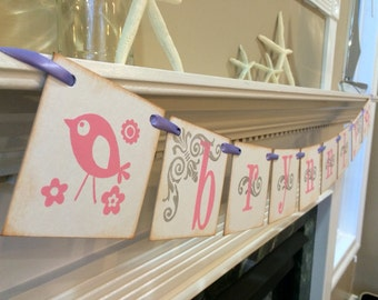 Girl Bird Banner Personalized With Your Childs Name/ Bird Room Decor/ Girl Baby Shower Banner /  Bird Baby Shower
