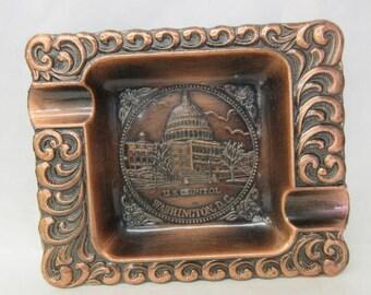 vintage ashtray, Washington DC, bronze toned metal, vintage souvenir, retro tobacco item, 70's funky ashtray 1970's