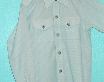 "1970s ""Ward"" Robin's Egg Blue/white Check Woven Poly Men's Shirt-Jac — size L"