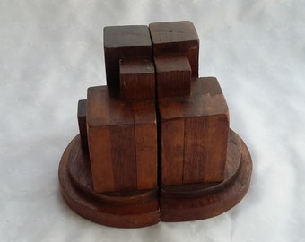 Mid Century Modern Wooden Book Ends
