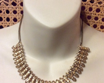 Vintage 1950's gold beads chain collar necklace.