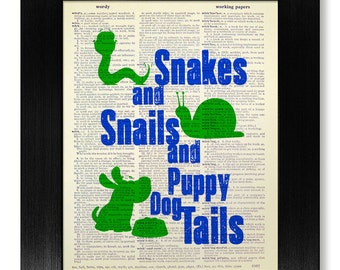 Baby BOY Gift Unique BABY Gift, Baby Boy NURSERY Decor, Boy Nursery Wall Art, Baby Shower Gift - Snakes and Snails and Puppy Dog Tails Print