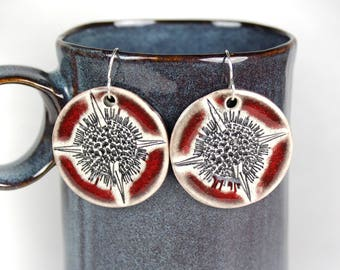 Radiolaria Ceramic Earrings in Red