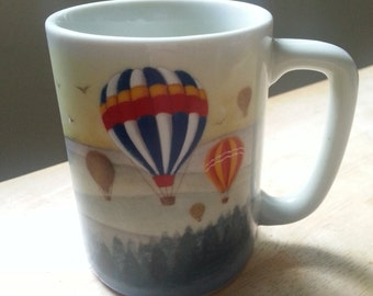 Otagiri hot air balloon mug vintage ceramic mountains forest scenery