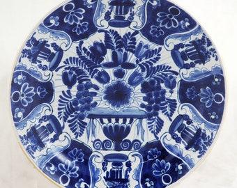 Vintage antique Dutch Delft blue wall plate