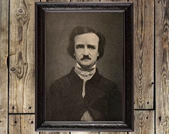 Edgar Allan Poe, nevermore, Poetry, raven, Mystery, Literary print, Literary poster, writer, Portrait, Author Portrait, Literary decor, 485