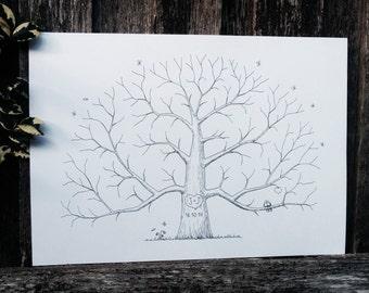 Custom Wedding Fingerprint Tree, Alternative Wedding Guestbook, Personalized Thumbprint Tree, Hand Drawn Tree, Family Tree, Parent gift