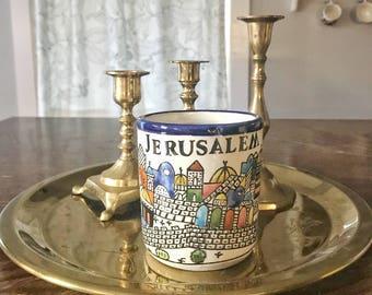 Jerusalem city mug, hand painted