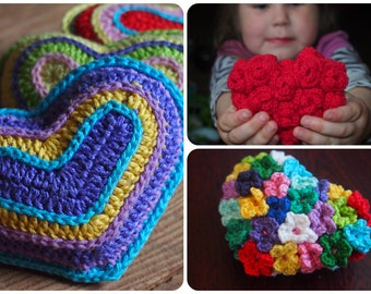 Heart crochet pattern: Heart Amigurumi, Rose Heart, Flower Heart, 3 patterns for the price of 2, design discount package.