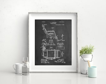 Barbers Chair Patent Art Print Barber Shop Decor Gift Vintage
