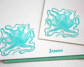 Personalized Letterpress Stationery Octopus Ocean Blue