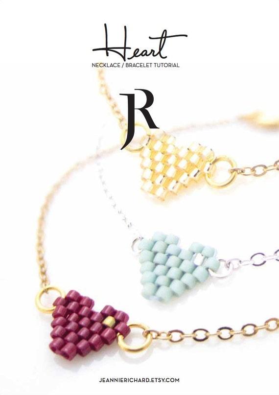 Beaded Heart Bracelet Tutorial, Beaded Heart Necklace Tutorial, Beading Pictorial, Beading Tutorial, Valentines Jewelry, BFF Bracelet