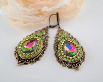 big green earrings filigree earrings long earrings brass polymer clay earrings vintage style earrings victorian earrings handmade earrings