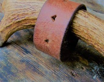 Leather Cuff Bracelet, Distressed Leather Cuff Bracelet, Womens Leather Cuff, Rustic Boho Style Jewelry, Vintage Leather Belt Cuff Bracelet
