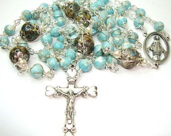 Catholic rosary, rosary beads, 5 decade rosary, grade AAA turquoise,gemstone rosary,abundantgracerosaries,Indylin,rosary marker,wire wrapped