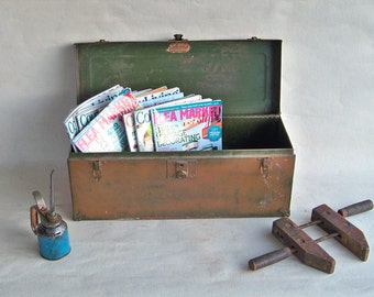 "Mid-Century Union Metal Toolbox ""Nicely Distressed with lots of Industrial Chic Charm"""