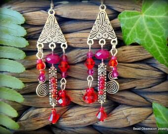 Red Earrings; Boho Earrings; Hippie Earrings; Bohemian Earrings; Chandelier Earrings; Gypsy Earrings; Festival Jewelry; Australian Seller