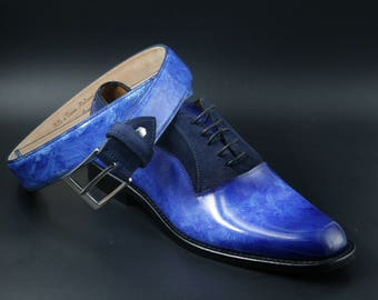 Leather men patina shoes, navy blue, suede, Oxford, hand painted, made in Italy, personalized