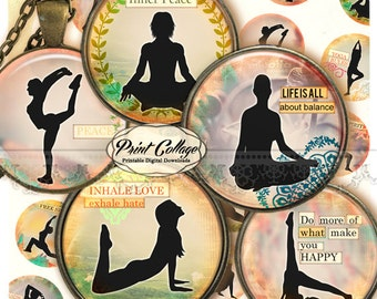 Cabochon images Digital Collage Sheet - Yoga images 1.5 inch 18mm 14mm 1 inch round Printable images digital download Bottle Cap image c219