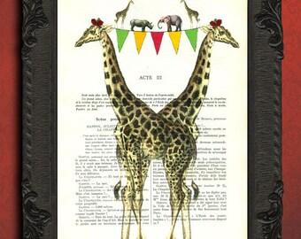 Giraffe Print giraffe with birthday banner art Giraffe Home Decor