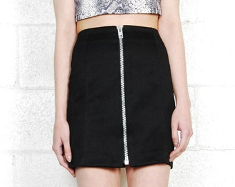 zippered mini skirt