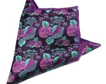 Purple Floral Pocket Square | floral handkerchief | floral wedding | mens handkerchief| wedding ideas | rose pocket square