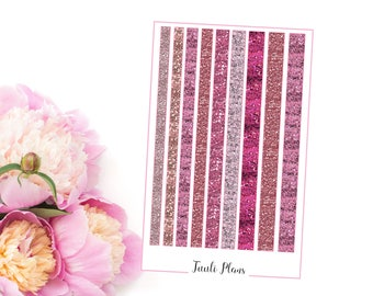 Planner stickers: washi strips - pink glitter (not ec size) | Perfect for your filofax / erin condren planner etc