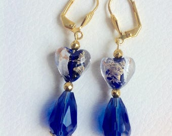 Blue and gold hearts in gold foil and Crystal beads earrings