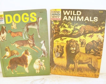 How Why Wonder Books Dogs Wild Animals Vintage Children's Picture Book Dog Book Animal Book Irving Robbin Martin Keen Illustrated Book 1962