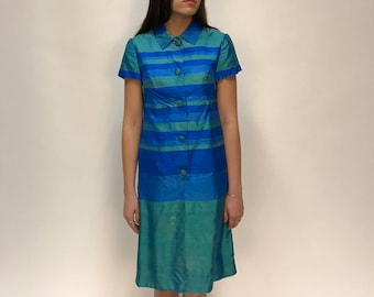 Vintage Silk Green and Blue Bold Striped Button Down Collared Midi Dress