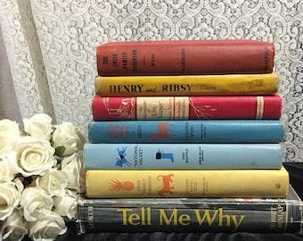 Vintage children's books, vintage nursery, National Velvet, Heidie, Tom Sawyer