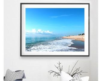 Ocean Photograph, Blue Photograph, Digital Download, Blue Decor, Beach Photograph, Beach Cottage Decor, Printable Art, Blue Sky, Beach