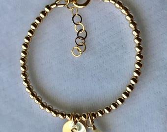 Gold Initial Bracelet, Flower Girls Bracelet, Gold Baptism Bracelet, First Communion,Confirmation, Baby Bracelet, Gold Birthstone Bracelet