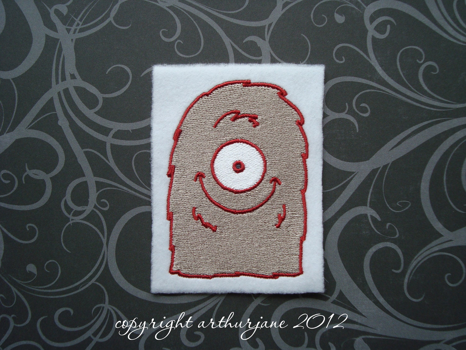 Red / Taupe Fuzzy Monster INSTANT DOWNLOAD Embroidery Design