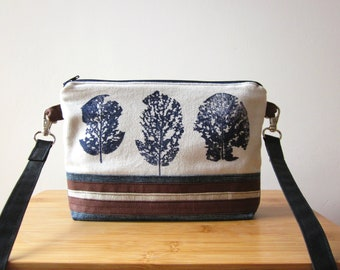 Small crossbody bag, hand painted bag, canvas and denim bag, Crossbody bag, blue bag, Every day bag, vegan bag