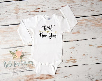 Baby Girl First New Year Onesie | First New Year | Baby Girl New Year Outfit | Happy New Year Outfit for Girl | Cake Smash Outfit | 142