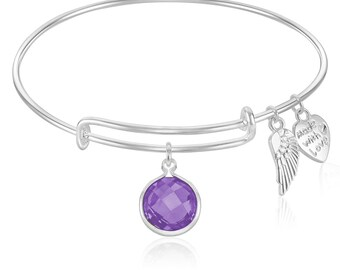Expandable Wire Bangle Bracelet with February Birthstone Charm and Angel Wing Charm Silver Finish