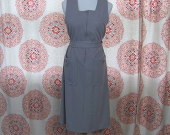 Womens Vintage Gray Belted Sleeves Dress With Pockets