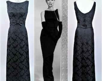 50s 60s Black Long Gown w Front Train S, Evening Couture, Silk Leaf Damask, Shimmering Satin, STEPHEN O'GRADY, Hepburn Hollywood Glamour!