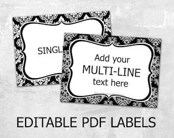 Editable Damask labels Editable labels for mason jars Label template Editable tags Editable PDF printable diy label design